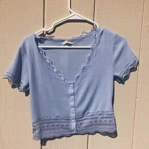 UO Darcy Lace Trim Button-Up Crop Top